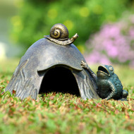 "Toad House with Snail Garden Sculpture 8""H"