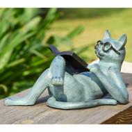"""Literary Cat Garden Sculpture 18""""L"""