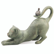 "Crouching Cat with Bird Garden Sculpture 15""L"