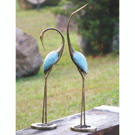 "Stylized Garden Crane Pair Sculpture 36""H"