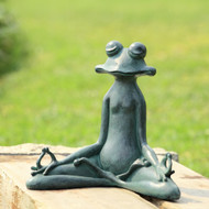 "Contented Yoga Frog Garden Sculpture 12""H"