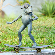 "Radical Skateboarding Frog Garden Sculpture 19""H"