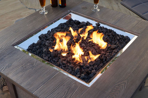 Black Lava Rock with flames