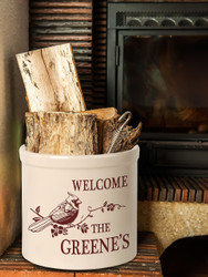 Personalized Welcome Cardinal Stoneware 2 Gallon Crock