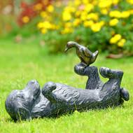 """Puppy Play Aluminum Garden Sculpture 14.5""""W"""