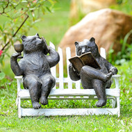 "Hipster Bears on Bench Garden Sculpture 15""W"