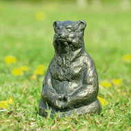 "Meditating Yoga Bear Aluminum Garden Sculpture 12""H"