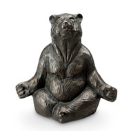 "Contented Yoga Bear Aluminum Garden Sculpture 12""H"