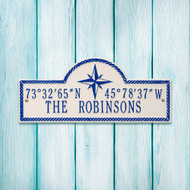 "Personalized Coordinates Nautical Plaque 16""W x 7""H (2 Lines)"