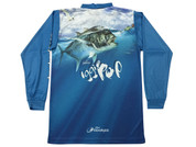 Fish Smart with our Sun Safe UV Protection Tournament Polo Shirt. Blue GT Design