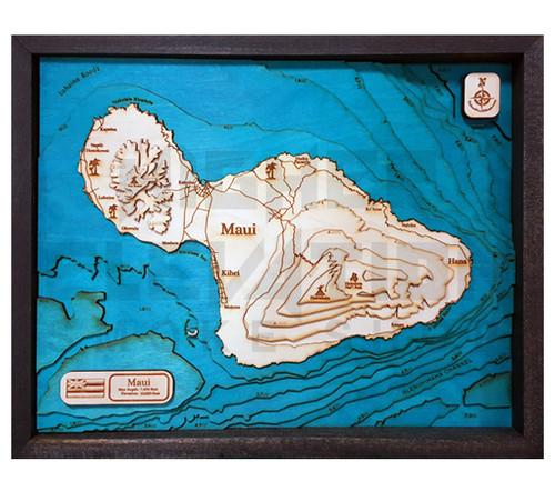 Wood Elevation Maps : D wood map maui large quot higher elevation