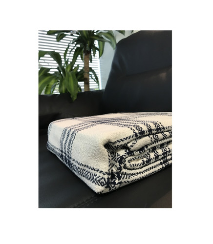 "Super Soft Lightweight All Season 100% Cotton Ivory Window Pane Blanket/Throw Queen 90""x90"""