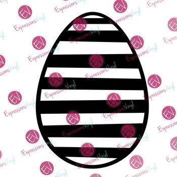 Striped Egg Digital Cut File