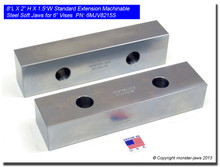 "8 x 2 x 1.5"" Oversized (Extension) Steel Machinable Jaws for 6"" Vises"