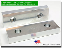 "8 x 2.5 x 1"" Top/Bottom Reversible Aluminum Soft Jaws for 8"" Vises"