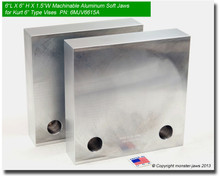 "(Out Of Stock) 6 x 6 x 1.5"" Aluminum Standard Soft Jaws for 6"" Vises"
