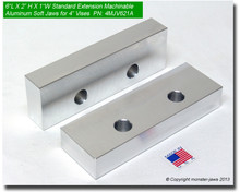 """6 x 2 x 1"""" Oversized (Extension) Aluminum Jaws for 4"""" Vises"""
