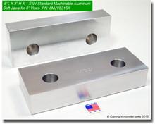 "8 x 3 x 1.5"" Aluminum Standard Soft Jaws for 8"" Vises"