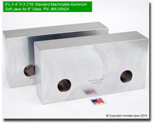"8 x 4 x 2"" Standard Aluminum Soft Jaws for 8"" Vises"