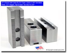 """10"""" Steel Jaws 1.5mm x 60° Serrated for B-210 Chucks Flat End (2.0"""" HT)"""