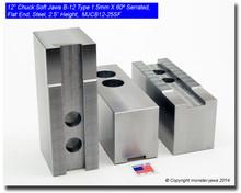 """12"""" Steel Jaws 1.5mm x 60° Serrated for B-12 Chucks Flat End (2.5"""" HT)"""