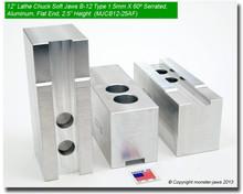 """12"""" Aluminum Jaws 1.5mm x 60° Serrated for B-12 Chucks Flat End (2.5"""" HT)"""