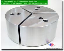 "12"" Aluminum Full Grip Round Jaws for B-212 Chucks (4"" HT, 12"" Pie diameter)"