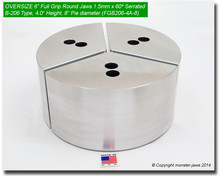 "6"" Oversized Aluminum Full Grip Round Jaws for B-206 Chucks (4"" HT, 8"" Pie diameter)"