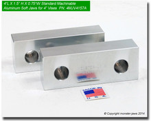 """4 x 1.5 x 0.75"""" Standard Aluminum Machinable Soft Jaws for 4"""" Vises"""
