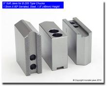 """5"""" Steel Jaws 1.5mm x 60° Serrated for B-205 Chucks (1.9"""" HT)"""