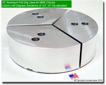 """15"""" Aluminum Full Grip Jaws for MMK Chucks 3.0mm x 60° Serrations (4"""" HT, 15"""" Pie diameter)"""