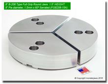 "8"" Aluminum Full Grip Round Jaws for B-208 Chucks (1.5"" HT, 8"" Pie diameter)"