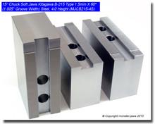"""15"""" Steel Jaws 1.5mm x 60° Serrated for B-215 Chucks (4"""" HT, 1.005"""" Groove)"""