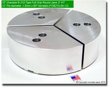 """10"""" Oversized Aluminum Full Grip Jaws for B-210 Chucks (12"""" Pie diameter, 3"""" HT)"""