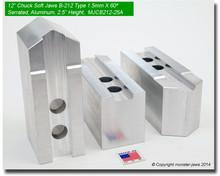 """12"""" Aluminum Jaws 1.5mm x 60° Serrated for B-212 Chucks (2.5"""" HT, 0.827 Groove)"""
