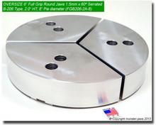 """6"""" Oversized Aluminum Full Grip Jaws for B-206 Chucks (2"""" HT, 8"""" Pie diameter)"""