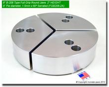 "8"" Aluminum Full Grip Round Jaws for B-208 Chucks (2"" HT, 8"" Pie diameter)"