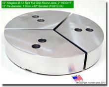 "12"" Aluminum Full Grip Round Jaws for B-12 Chucks (2"" HT, 12"" Pie diameter)"