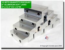 "10-Pack 6 x 2 x 2"" Aluminum Standard Vise Jaws Fits 6"" Vises"