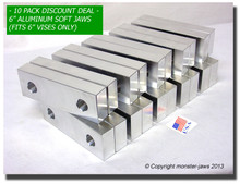 "10-Pack 6 x 2 x 1"" Aluminum Standard Vise Jaws Fits 6"" Vises"
