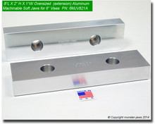 "8 x 2 x 1"" Oversized (Extension) Aluminum Soft Jaws for 6"" Vises"