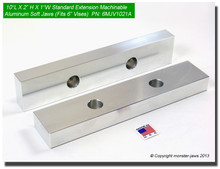 """10 x 2 x 1"""" Oversized (Extension) Aluminum Soft Jaws for 6"""" Vises"""