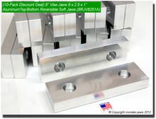 "10-Pack 8 x 2.5 x 1"" Top/Bottom Reversible Aluminum Vise Jaws Fits 8"" Vises"