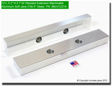 "12 x 2 x 1"" Oversized (Extension) Aluminum Machinable Soft Jaws for 6"" Vises"