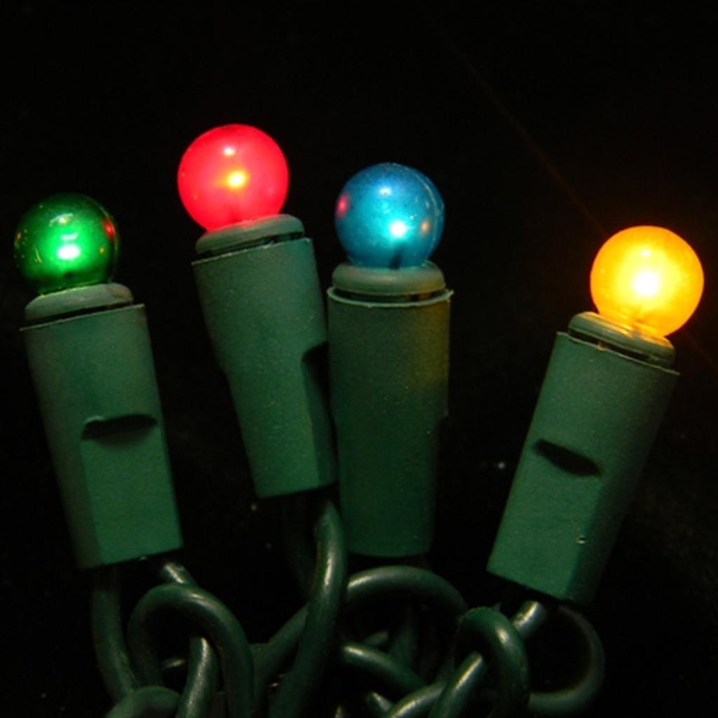 50 Light Mini Globe Bulbs Green Wire / RGB Bulbs