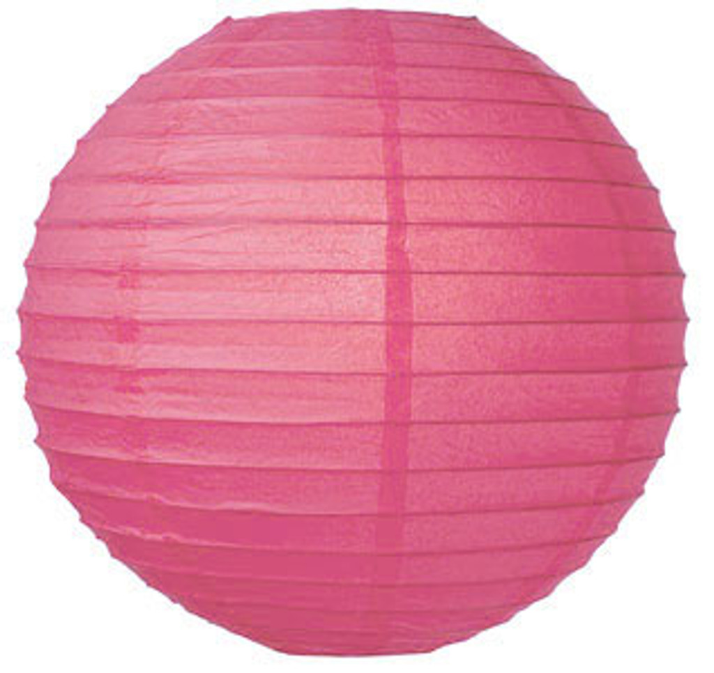Parallel Ribbed Fuchsia 16-Inch Round Paper Lantern