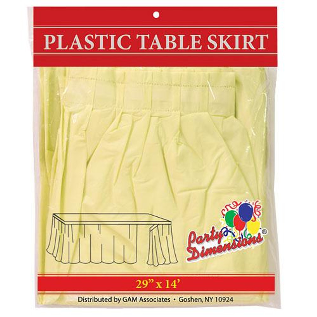 Plastic Table Skirts Yellow