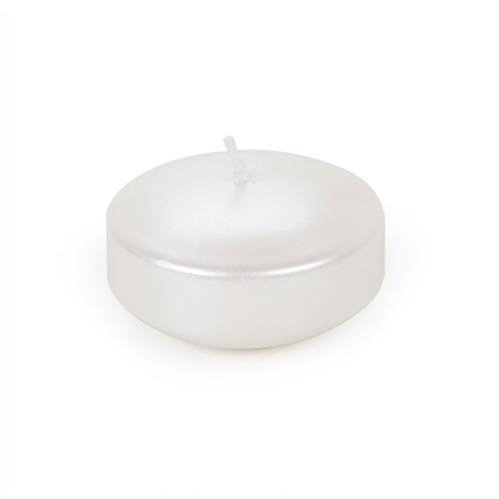 3 Inch Metallic Pearlescent White Wax Floating Disc Candle