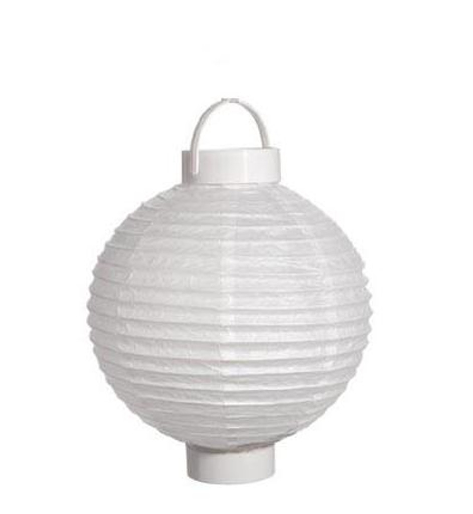 8 Inch Battery Operated Paper Lantern White
