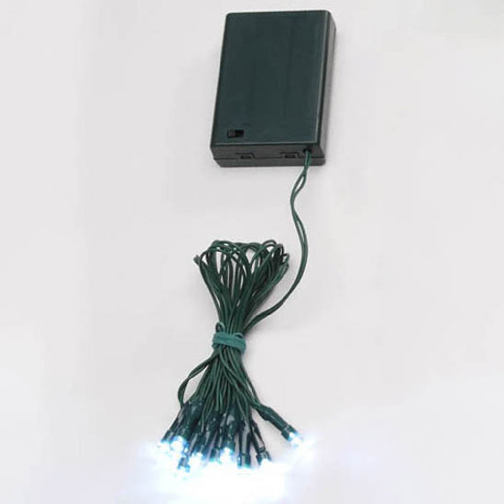 Deco Lights - 10 Battery Operated LED Lights on Green Wire